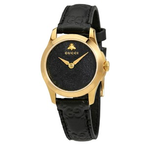 Gucci Swiss Made G-Timeless Black Leather and Dial Ladies Dress Watch Style