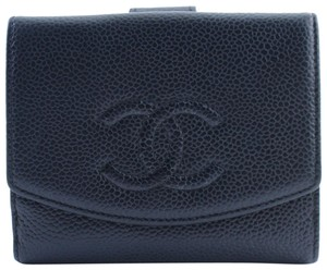 Chanel Caviar Wallet Cc Wallet Pouch Purse Black Clutch