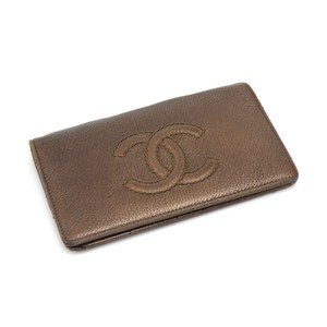 Chanel Chanel Crinkled Bronze Leather Bifold Chain Wallet
