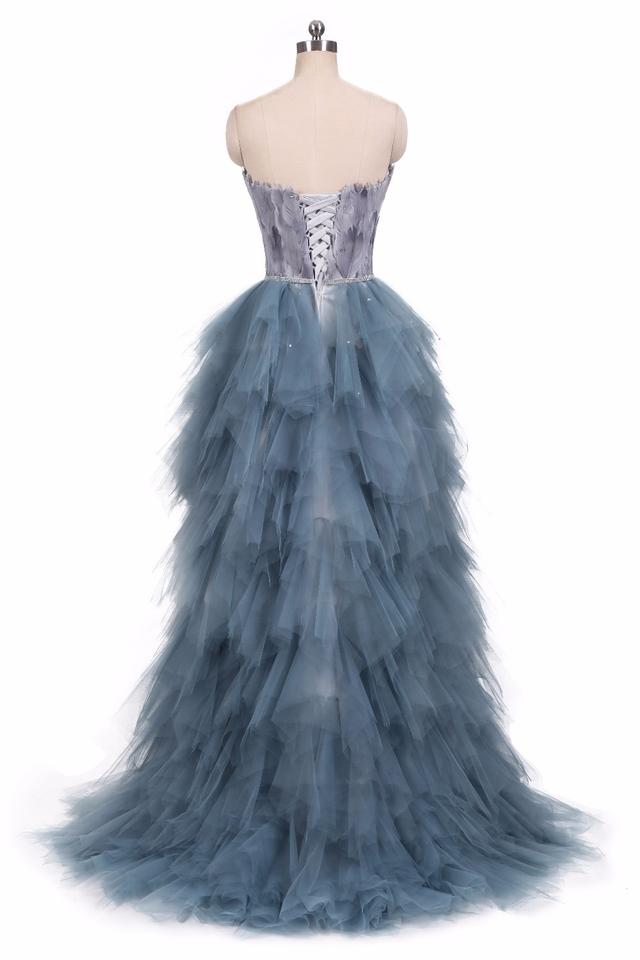 Blue Tulle Feathers & Crystals High Low Swan Corset Ball Gown Custom ...