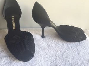 Liz Carine Black Crochet and Leather Dorsay Pumps
