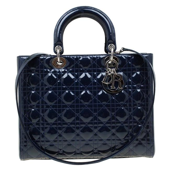 Item - Lady Large Blue Patent Leather Tote