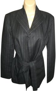 Adrienne Vittadini Kimono Style Stripes Belt Black Jacket