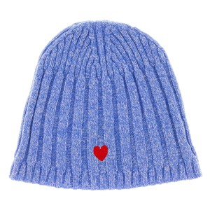 Moschino Moschino Blue Wool Blend Chunky Ribbed Beanie Hat