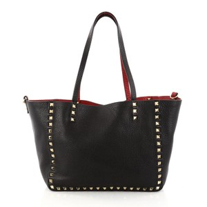 Valentino Leather Tote in Red and Black