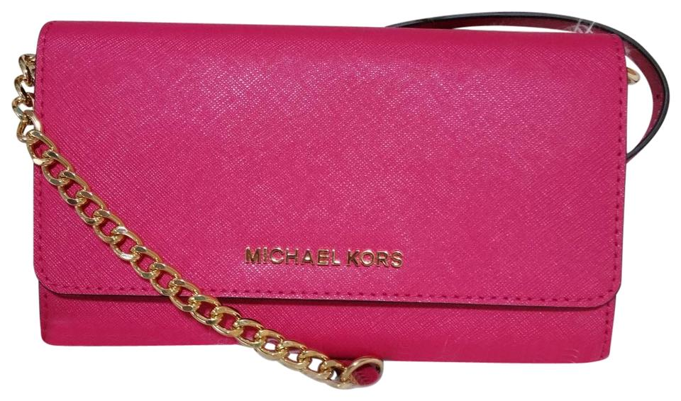 335c376a61277 Michael Kors Jet Set Travel Large Ultra Pink Leather Cross Body Bag ...