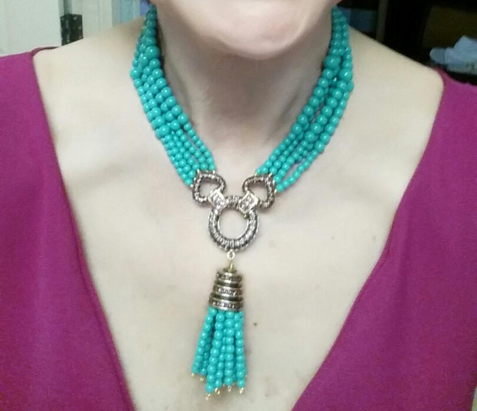 85a76af1555f4 Heidi Daus Turquoise and Ruby Dazzling Versatility Beaded Convertible  #481812781743 Necklace 72% off retail