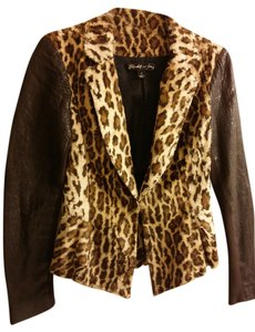 Elizabeth and James Faux Fur Leopard Cheetah Lamb Lambskin Upscale Coat Dress Brown Blazer