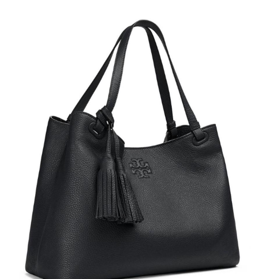 9662d1954dcd Tory Burch Thea Center Zip Black Leather Tote - Tradesy