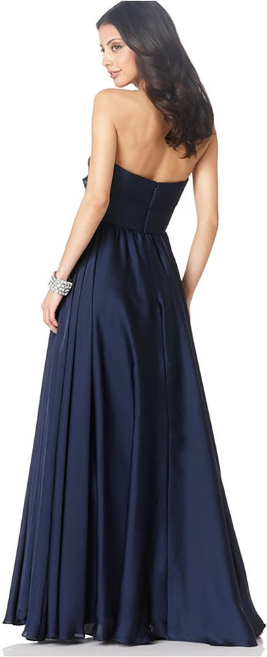 JS Collections Navy Strapless Pleated Gown Mid-length Formal Dress ...
