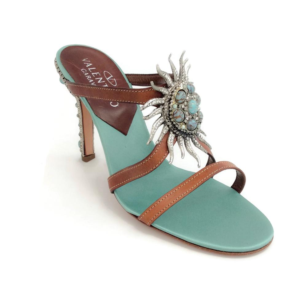 Valentino Brown Turquoise / Turquoise Brown Sunbust Sandals 475ec9