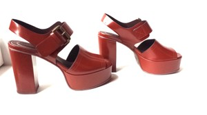 See by Chloé Block Heel Polished Leather Retro Brown Platforms