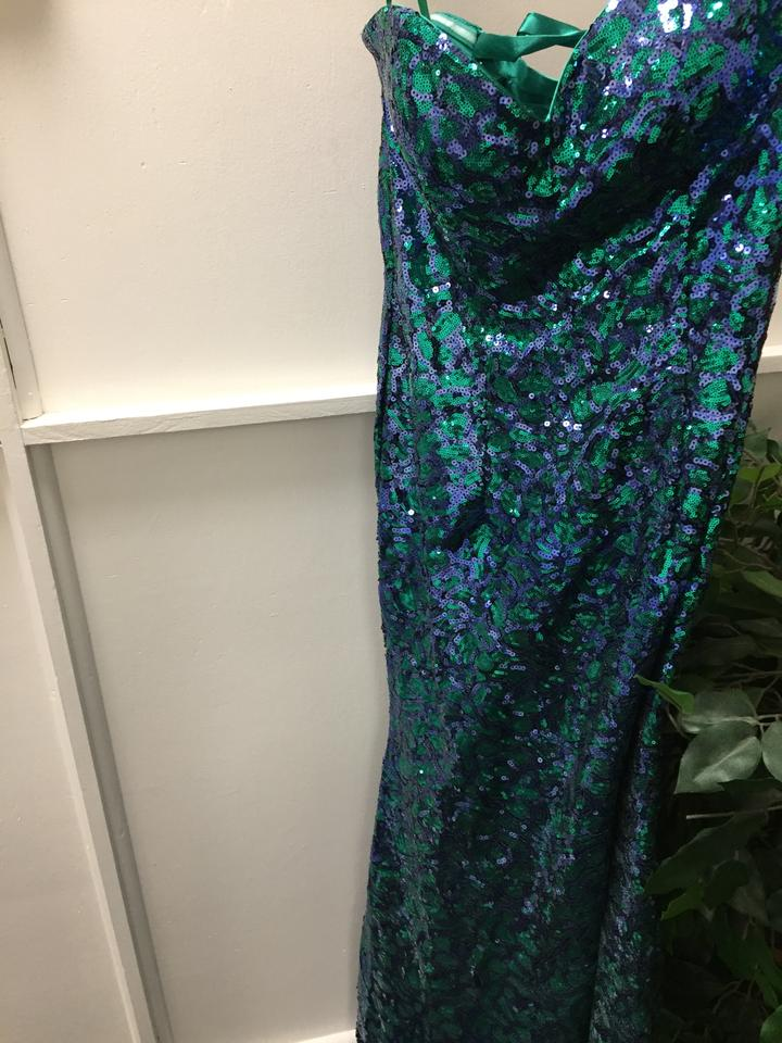 Royal/Green Sequin Gown-nwt Long Formal Dress Size 10 (M) - Tradesy