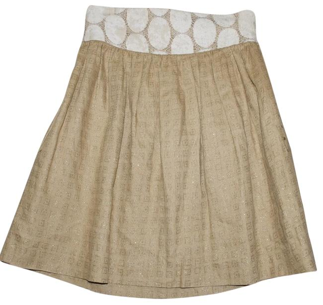 Item - Beige Cotton/ Silk Brown Gold Pleated Skirt Size 2 (XS, 26)