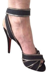 Christian Louboutin Black with Silver metal trim and ankle straps Sandals