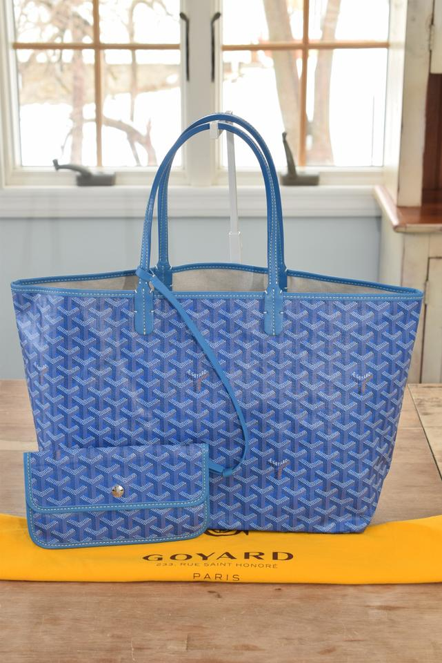 cd441954130e4 Goyard Never Worn - Classic Chevron St. Louis Pm Sky Blue Coated Canvas and  Leather Tote