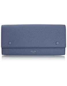 Céline Celine Medium Blue Drummed Calfskin Large Multifunction Flap Wallet wi