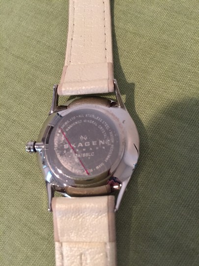 Skagen Denmark Skagen Cream color leather watch with silver tone hardware