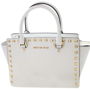 8cc2a04b7caa Added to Shopping Bag. Michael Kors Satchel in White. Michael Kors Selma Stud  White Saffiano Leather Satchel