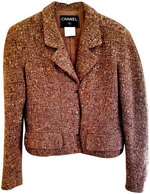 Item - Brown and Gold Classic Tweed Jacket Blazer Size 6 (S)