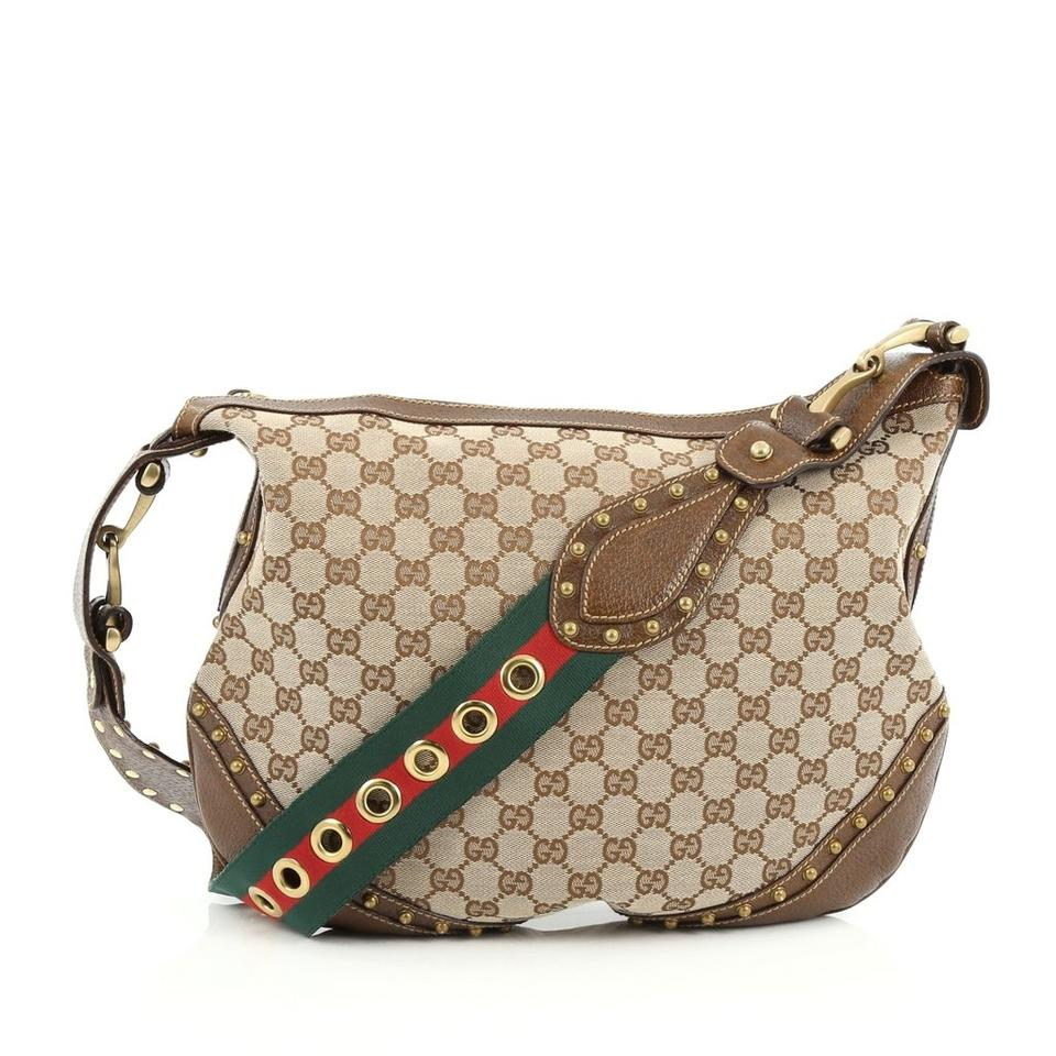 717aa169fe0 Gucci Pelham Monogram Studded Tan Brown Canvas Hobo Bag - Tradesy