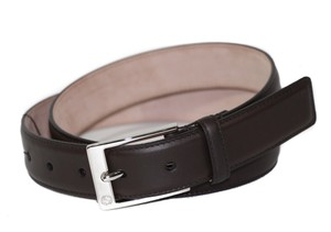 Gucci GUCCI 345658 Unisex Leather Square Buckle Belt, Brown 85-34
