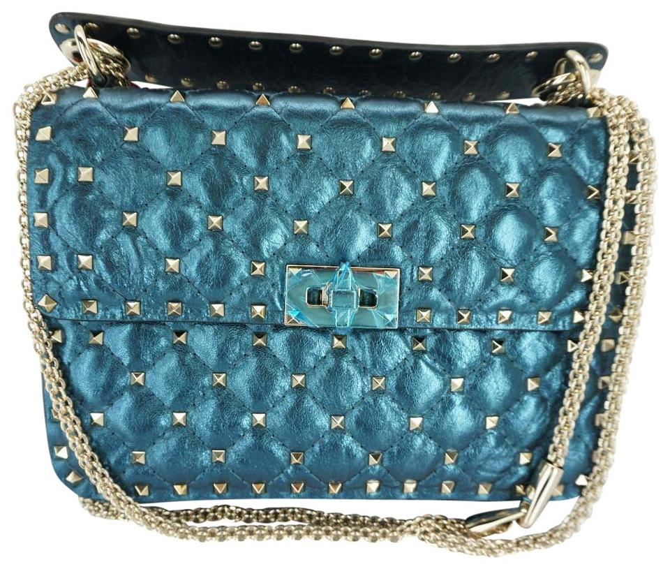 39b5daa162 Valentino New Rockstud Spike Medium Chain Metallic Peacock Blue Lambskin  Shoulder Bag