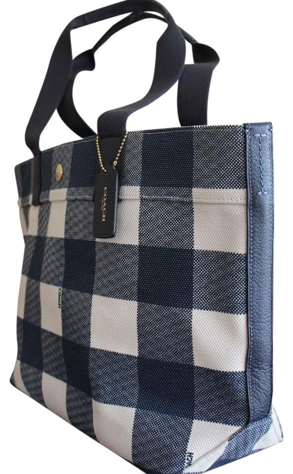 f990cec599 Coach With Buffalo Plaid Print Midnight Canvas Tote