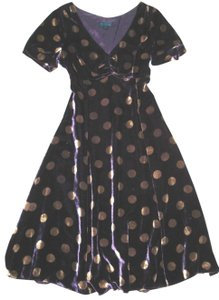 Boden Silk Blend Velver Velour Polka Dot Party Puff Sleeve Dress