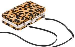 Prada Women Leopard Evening Beige Clutch