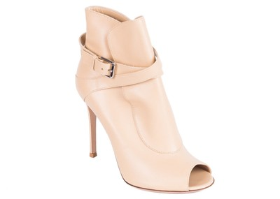 f5616338756a Gianvito Rossi Beige Leather Ankle Strap Peeptoe Stiletto Boots Booties Size  EU 37 (Approx. US 7) Regular (M
