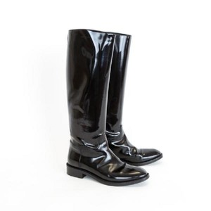 ded48f7e194c4 Saint Laurent Patent Leather Knee-high Zipper Stacked Heel Round Toe Black  Boots