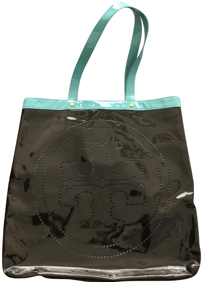 f77119d3057 Tory Burch T T-contrast Blue Brown Turquoise Brown Patent Leather Tote