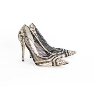 Jimmy Choo Snakeskin Mesh Pointed Toe Black / Beige Pumps
