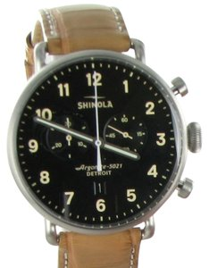 Shinola Canfield 43mm Chronograph Black Dial Tan Alligator Watch S0120001942