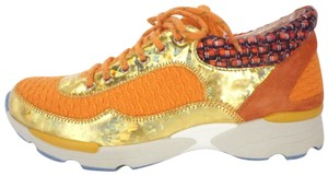 Chanel Tweed & Leather Tennis Sneakers Trainers Lace Up Multicolor Athletic
