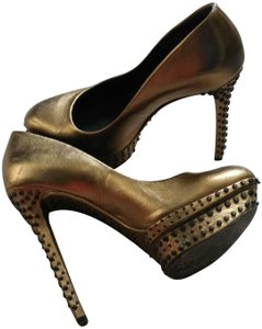 Brian Atwood Gold with Studded Metallic Pumps