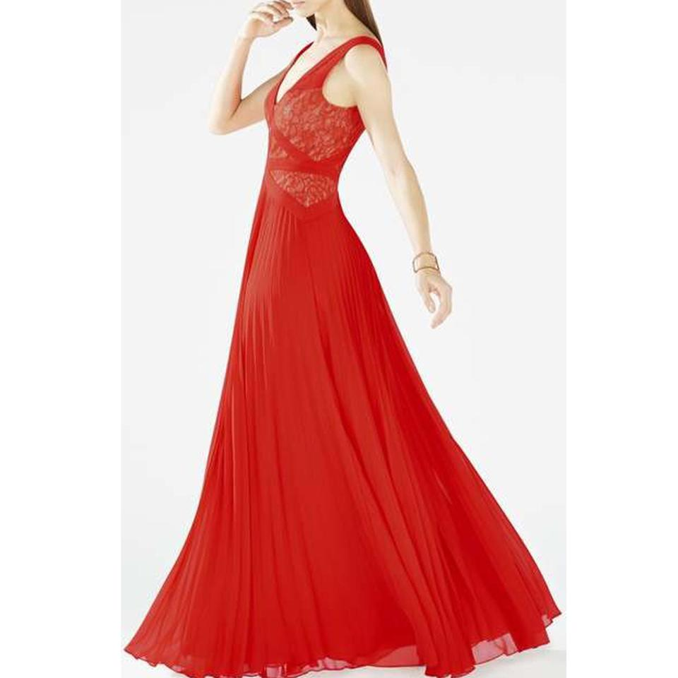 BCBGMAXAZRIA Red Poppy Evonne Lace Gown Long Casual Maxi Dress Size ...