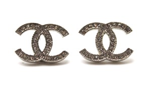 Chanel Timeless CC Classic silver crystals pierced stud earrings