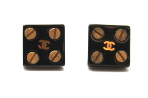 Chanel CC square with screws pierced stud earrings