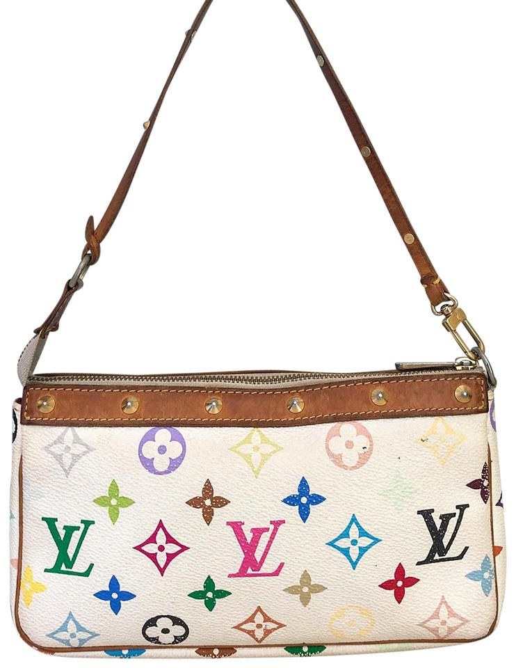 2bde249564af Louis Vuitton Pochette Canvas Pouch Wristlet in White Multi-color Image 0  ...
