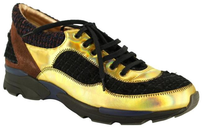 Item - Gold Holographic Leather Black Tweed Lace Up Low Top Trainer Sneakers Size EU 38.5 (Approx. US 8.5) Regular (M, B)