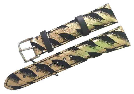 Michele Authentic Michele 18mm Black/Gold Leather Watch Band Strap