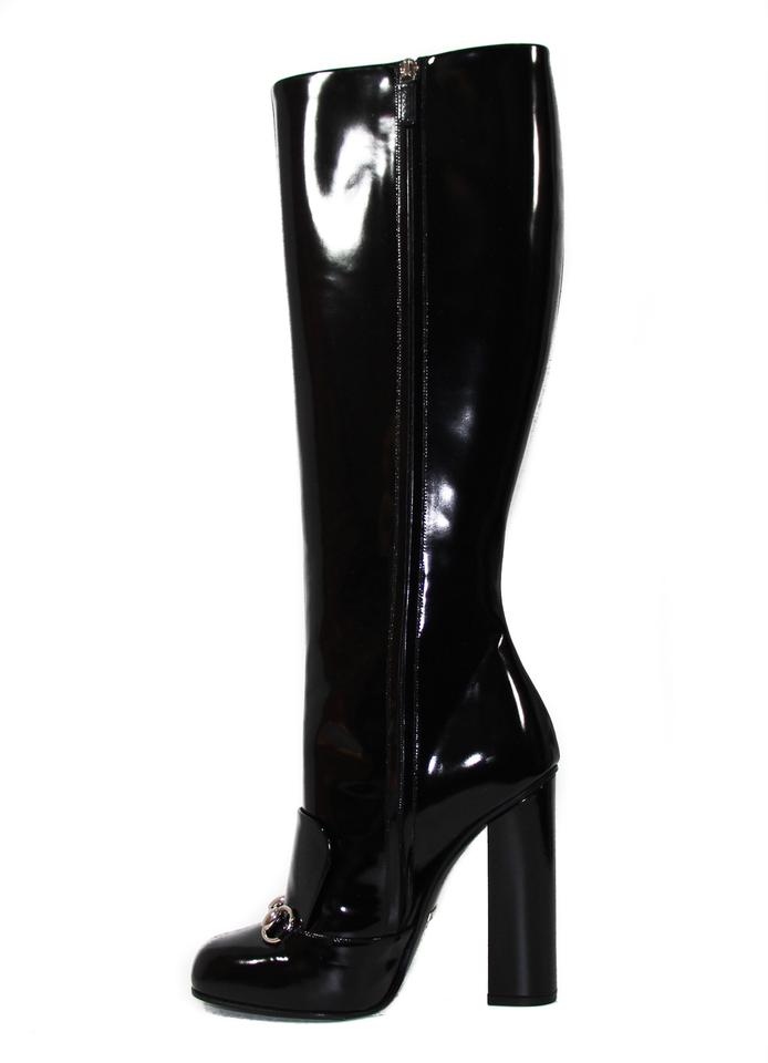 dc142a47f73 Gucci Black Horsebit 363805 Lilian Polished Patent Leather Knee 40 ...