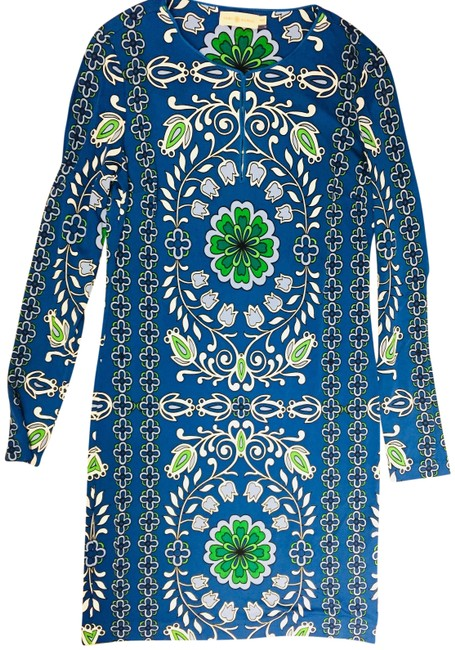 Item - Blue Green and White Printed Tunic Mid-length Work/Office Dress Size 8 (M)