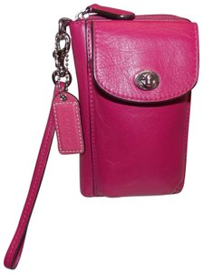 Coach COACH 'Campbell Leather Universal Zip Wallet ~ Fuchsia ~ Nickel ~ New
