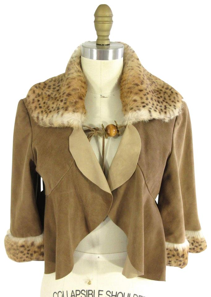2c92c96b279926 David Rodriguez Brown M - Vintage Amazing Deer Suede Rabbit Trim Swing Jacke  Poncho/Cape