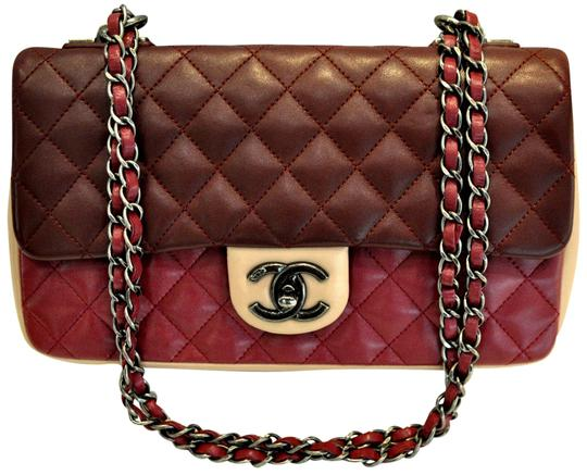 4d5fef98b45d44 chanel classic flap tricolor quilted lambskin valentine red leather  shoulder bag