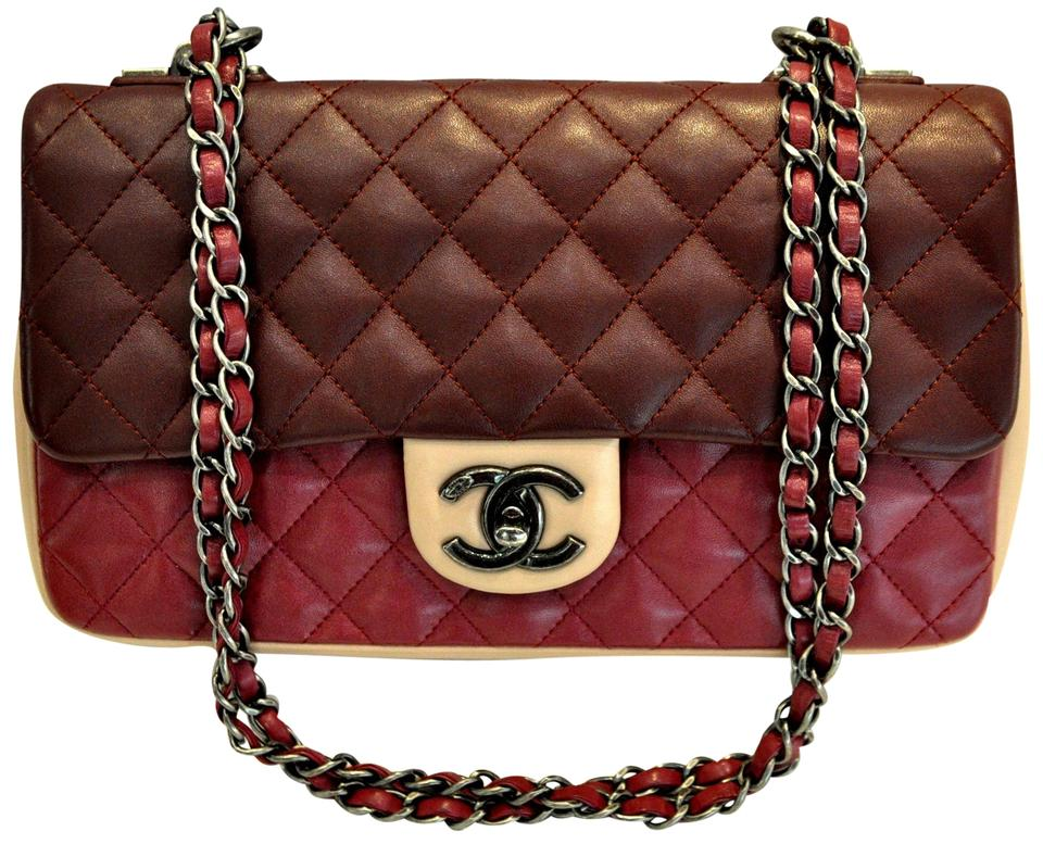 5f725d9226fe21 Chanel Classic Flap Tricolor Quilted Lambskin Valentine Red Leather  Shoulder Bag