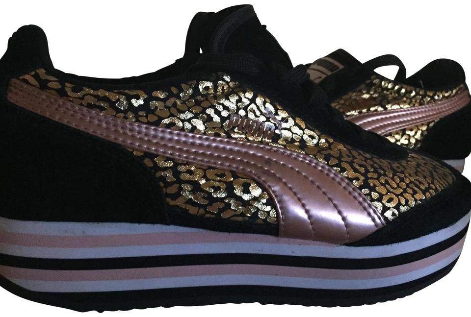 5b584410a55 Puma Gold Pink Black White Eco Ortholite Sneakers Size US 6.5 ...